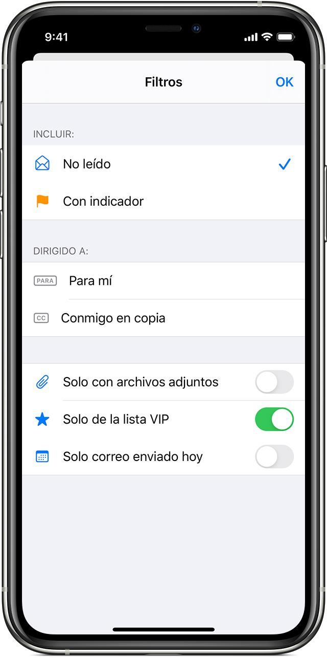 Cómo establecer filtros para buscar correos electrónicos para un iPhone