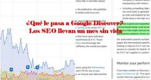 ¿Qué le pasa a Google Discover? Los SEO llevan un mes sin vida