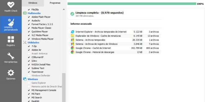 CCleaner el mejor optimizador con seguridad para un ordenador con Windows